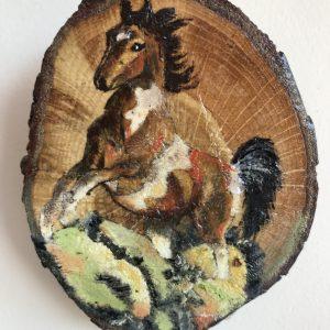 kütük üzerine yağlı boya at