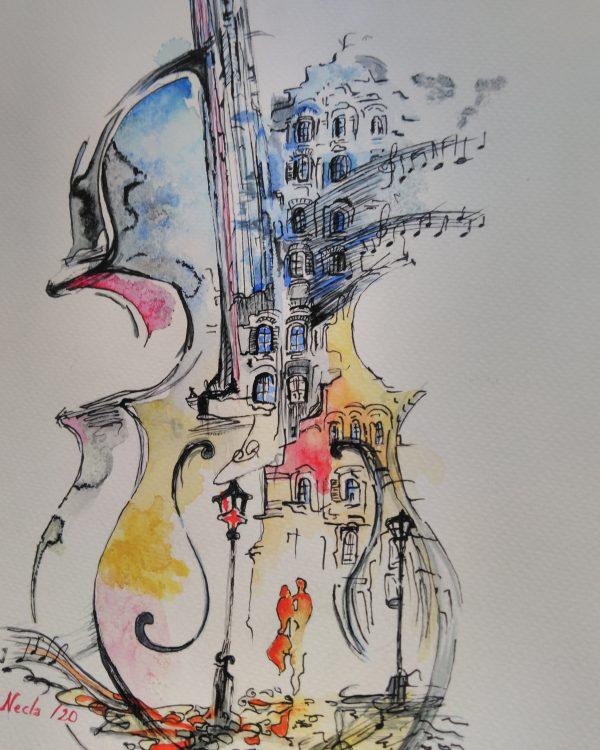 Sulu boya gitar resim