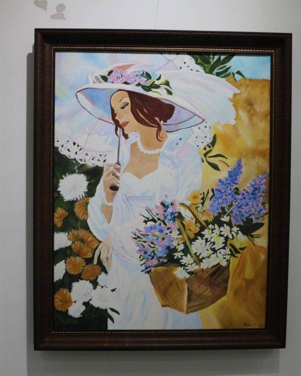 şemsiyeli kız yağlı boya tablo